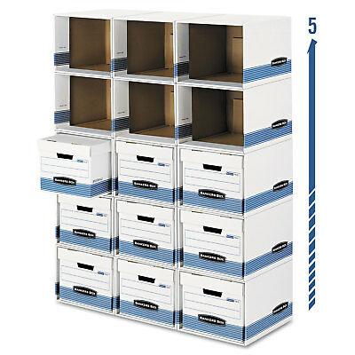 Bankers Box File/Cube Box Shell Legal/Letter 12 x 15 x 10 White/Blue 0162601