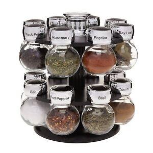 Spinning Spice Rack with 16 Labeled Glass Jars Kitchen Holder Storage Organizer