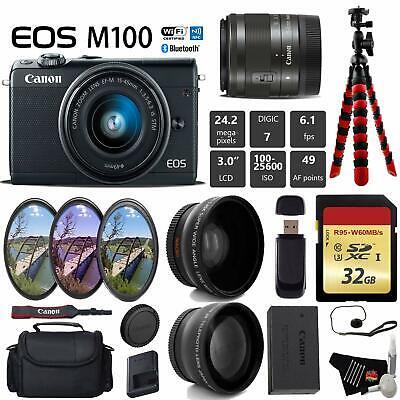 Canon EOS M100 Mirrorless Digital Camera (Black) +15-45mm Lens + UV FLD CPL Filt