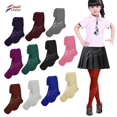 New Kids Girls School Uniform Plain Tights In a Lot Colors and Sizes 3-13 Years