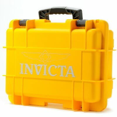 New Invicta 8 Slot Impact Hard Yellow Dive Storage Collector Waterproof Case