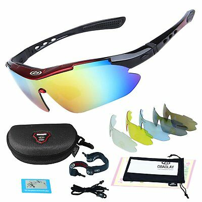 01d1cd3592 Polarized Sports Glasses with 5 Replacement Lenses UV