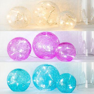 3 Glaskugeln & LED Lichterkette Batteriebetrieb LED Tisch Deko Beleuchtung Innen