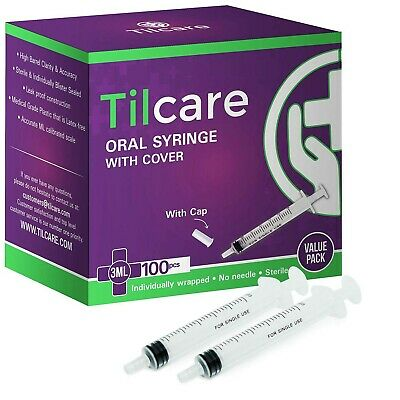 3ml Oral Dispenser Syringe With Cover 100 Pack By Tilcare - Sterile Plastic M...