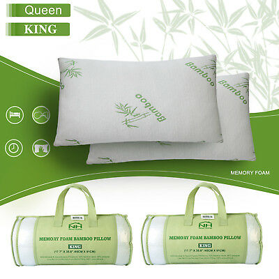 1 2 pcs Bamboo Memory Foam Bed Pillow Queen/King Size Hypoallergenic w/Carry Bag