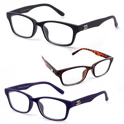 Classic and Stylish Non Prescription Clear Lens Unisex Glasses with Logo (Glasses With Plastic Frames And Clear Lenses)