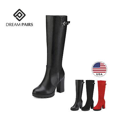 DREAM PAIRS Womens Knee High Chunky High Heel Almond Toe Fau