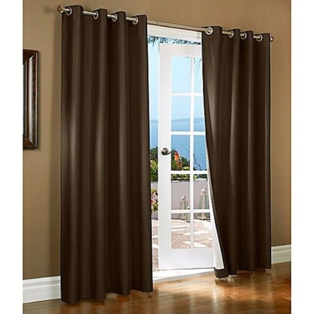 BROWN Blackout Curtains Thermal Lined Solid Window Grommet Drape 2 PANELS  New