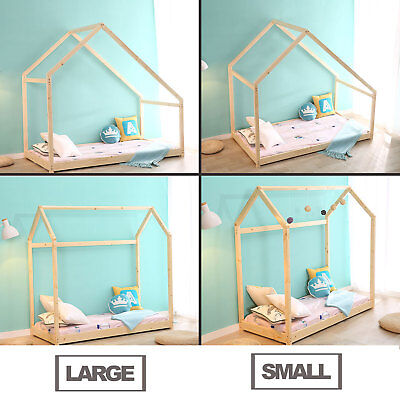 Kids Mansion Bed - Children House Frame Bed Floor Bed Bedroom Furniture Premium Wood 2 Dimensions