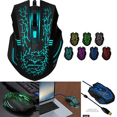 7 LED Backlit Gaming Mouse USB Light Up 3200DPI Optical Mice Laptop PC 6 Buttons