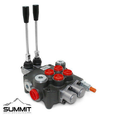 2 Spool Hydraulic Monoblock Double Acting Control Valve 21 Gpm Sae Ports