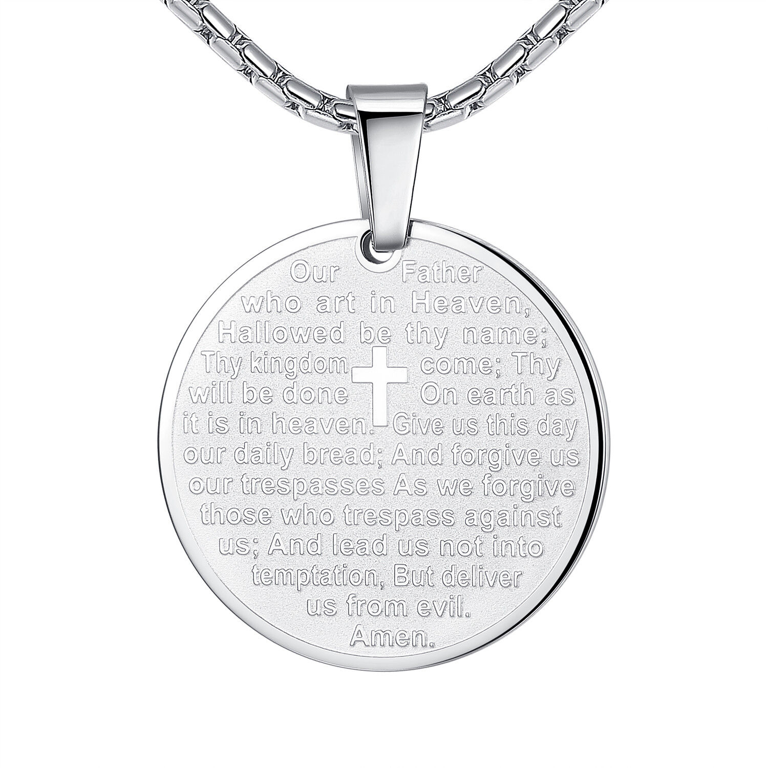 Stainless Steel Unisex Bible Lord's Prayer and Cross Medallion Pendant Necklace Chains, Necklaces & Pendants