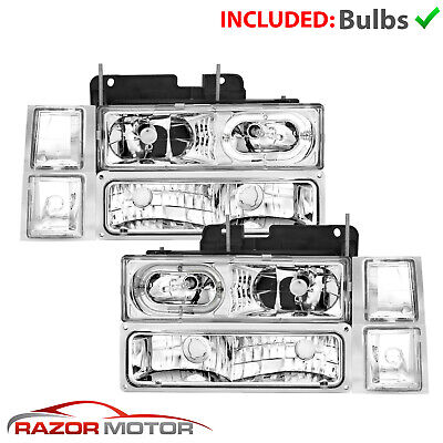 [LED Halo] 1994-1998 Chevy C/K 1500/2500/3500 Headlights Bumper Lamps Set