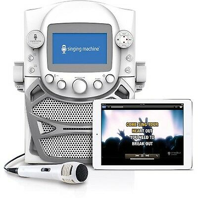 Singing Machine CD G Karaoke Bluetooth System Microphone Portable Monitor White