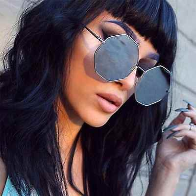 Octagon Mirrors (Large Oversized Fashion Sunglasses Octagon Metal Frame Mirrored Lens Women)