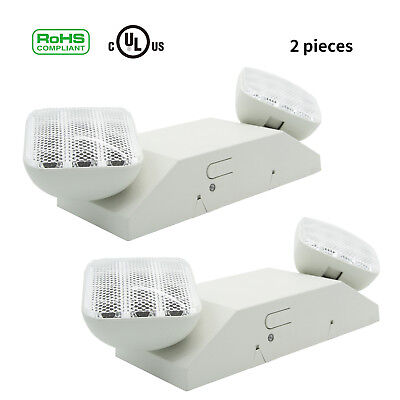 2pcs LED Emergency Exit Light Lamp Lighting Fixture Twin Square Heads Universal Emergency Lighting Fixture