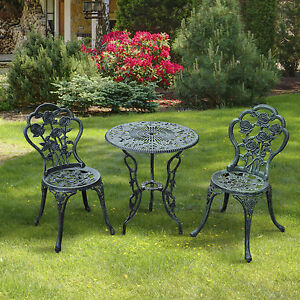 3PC Bistro Set Table Chairs Patio Furniture Garden seat Outdoor Bench Antique