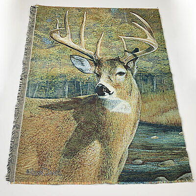 Nine Point Buck Deer Kevin Daniel Unfinished Tapestry Wall Hanging Fabric Piece  (Danielle Cotton Wall Hanging)