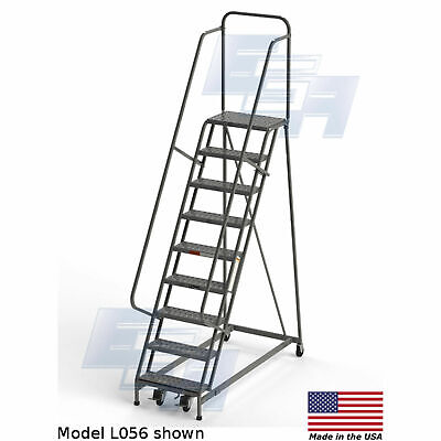 Ega L056 Industrial Rolling Ladder 9-step 26 Wide Perforated Gray 450lb.