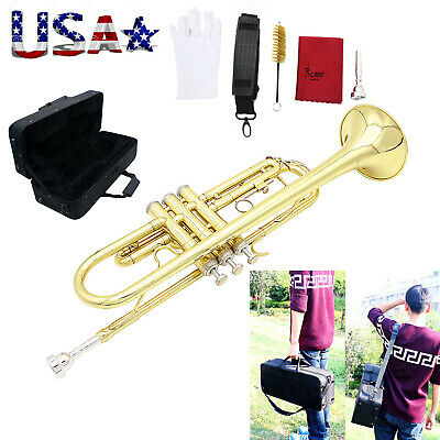 USA Trumpet Bb B Flat Brass with Mouthpiece Cleaning Brush Cloth Gloves Strap