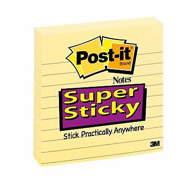 Post-it Super Sticky Notes 4 X 4-inches Canary Yellow Lined 3 Pack