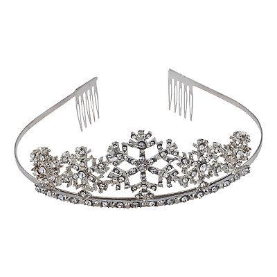 Lux Accessories Silver Tone Snowflakes Crystal Rhinestones Hair Princess Tiara