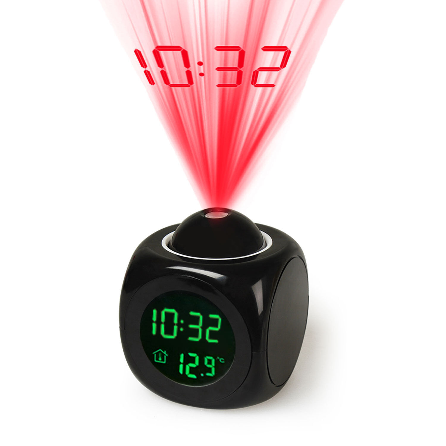 Multifunction Vibe LCD Talking Projection Alarm Clock Time &