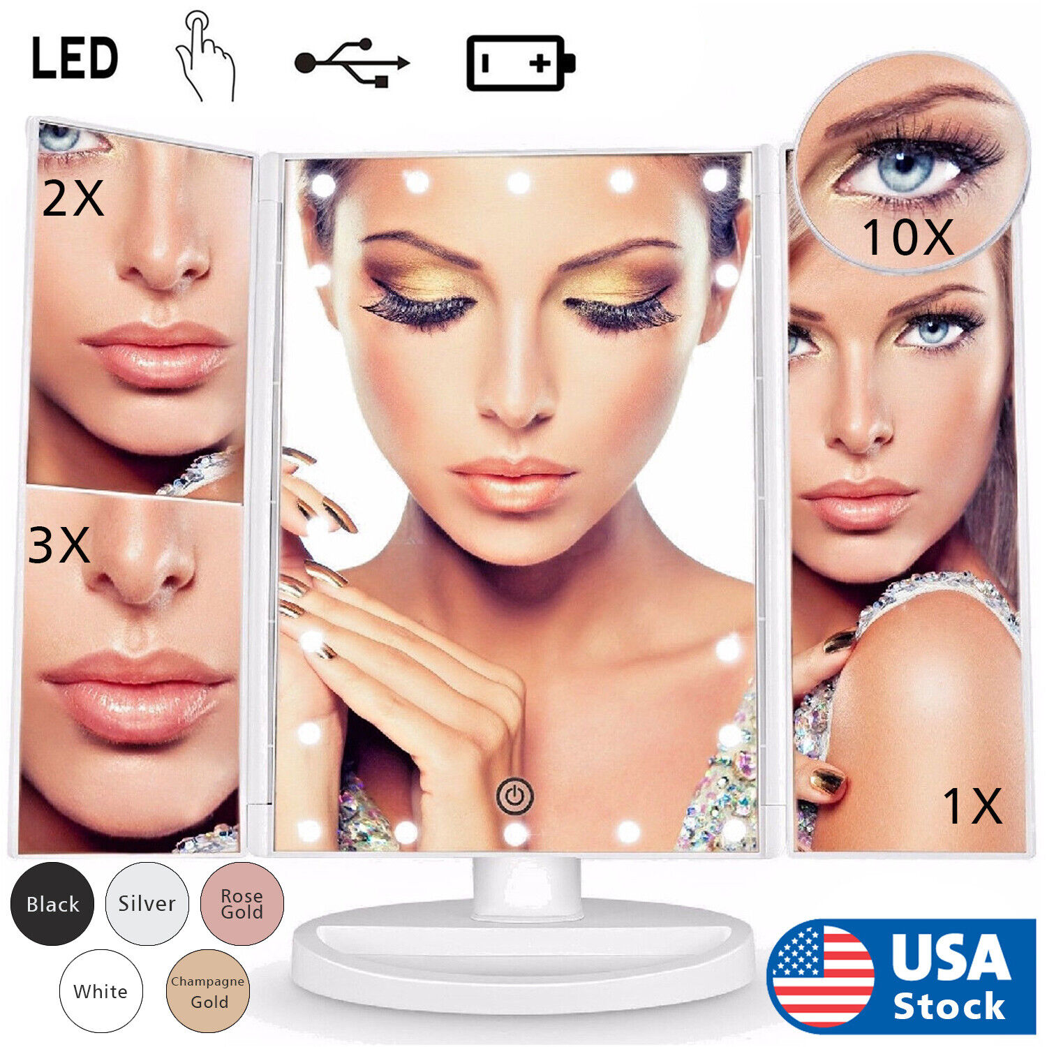 USB LED Tri-Fold 2X 3X 10X Magnifying Makeup Mirror Touch Screen Standing Lights Health & Beauty