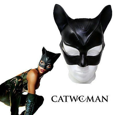 US Halloween Adult Catwoman Mask Bat Cosplay Costume Latex Helmet Fancy  - Catwoman Mask Halloween Costume