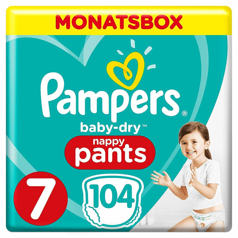 Pampers Baby-Dry Pants, Gr. 7, 17+ kg, Monatsbox, 1er Pack (1 x 104 Stück)