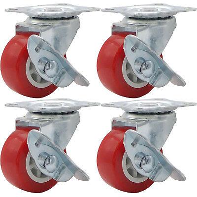 Lot Of 4 1.5 Low Profile Caster Wheels Rubber Swivel Caster W Side Brake Red