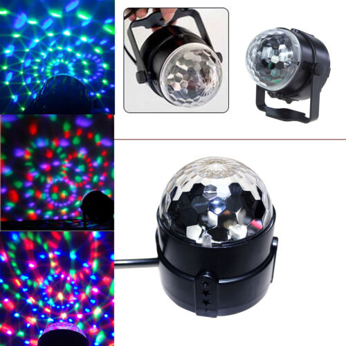 Music Active RGB Rotating LED Stage Crystal ball Xmas Club DJ Party Disco Lights