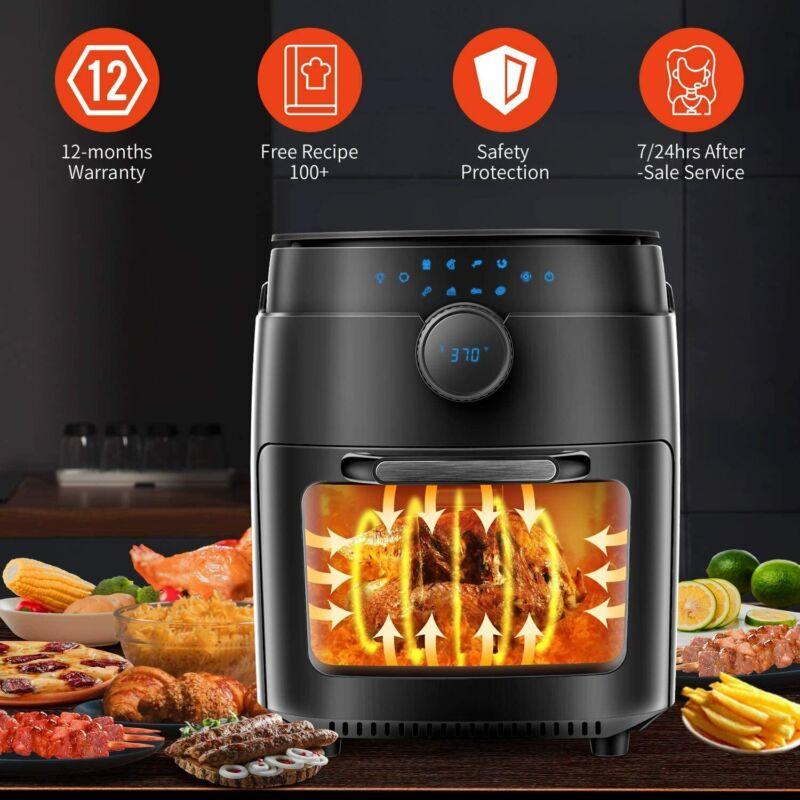Moosoo 12.7 QT 1800W 8-in-1 Air Fryer Oven w/ Dehydrator, Rotisserie & Bake US