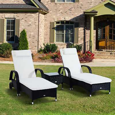 Garden Furniture - Outsunny 3PC Rattan Sun Lounger Table Patio Recliner Day Bed Garden Furniture