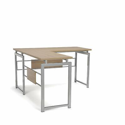 Modern Design L-shaped Corner Office Desk With Metal Frame And Natural Wood Top