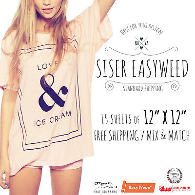 Siser Easyweed Heat Transfer Vinyl 15 Sheets Of 12 X 12 Mix Match