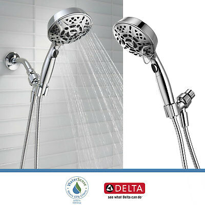 Delta Faucet 7-Spray Handheld Shower Head with H2Okinetic Touch Clean, Chrome