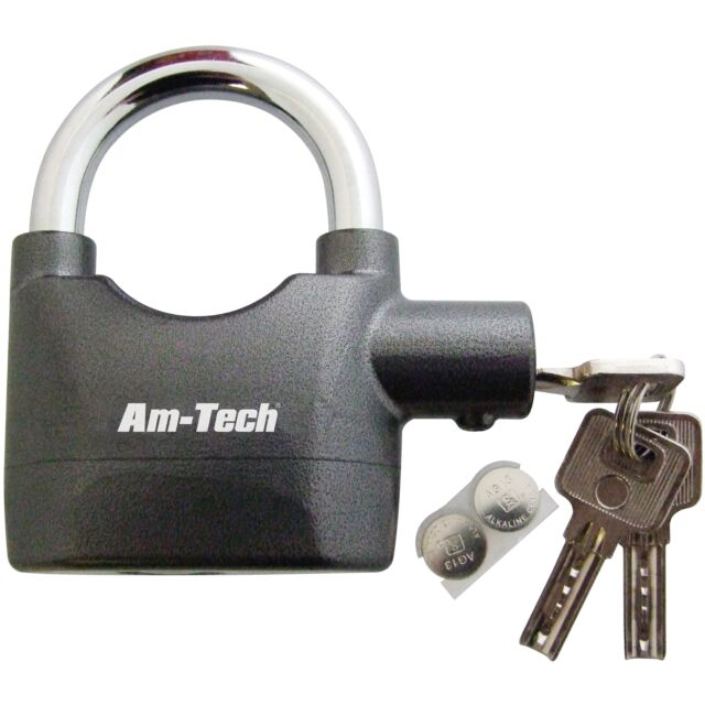 Heavy Duty 65mm ALARMED PADLOCK With 3 Keys & Batteries Garage Home Safety Gates