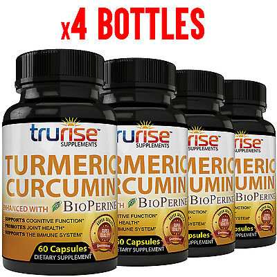 4 Bottles   Turmeric Curcumin With Bioperine 95  Curcuminoids 240 Capsules