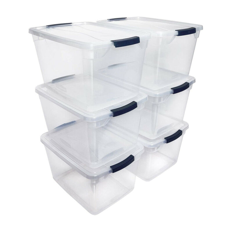 Rubbermaid Cleverstore 30 Quart Plastic Storage Tote Container with Lid (6 Pack)