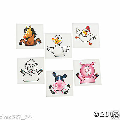72 FARM Animals Barnyard Country Cowboy Everyday Party Favors Temporary Tattoos - Barnyard Animals Party