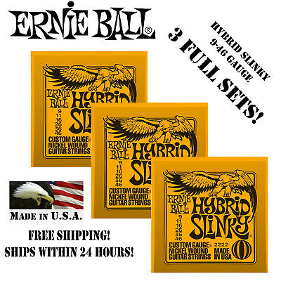 ** 3 SETS! ERNIE BALL HYBRID SLINKY ELECTRIC GUITAR STRINGS