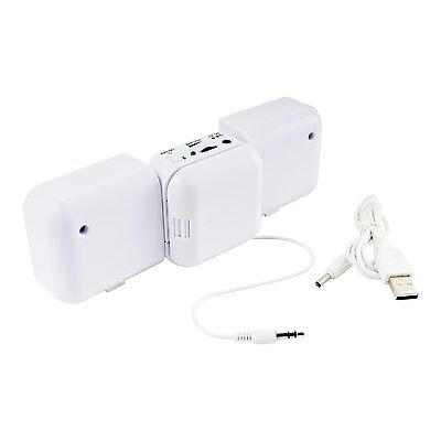 """MINI FOLDING TRAVEL SPEAKERS """"WHITE"""" FOR IPHONE, IPODS, MP3/MP4 PLAYERS etc"""