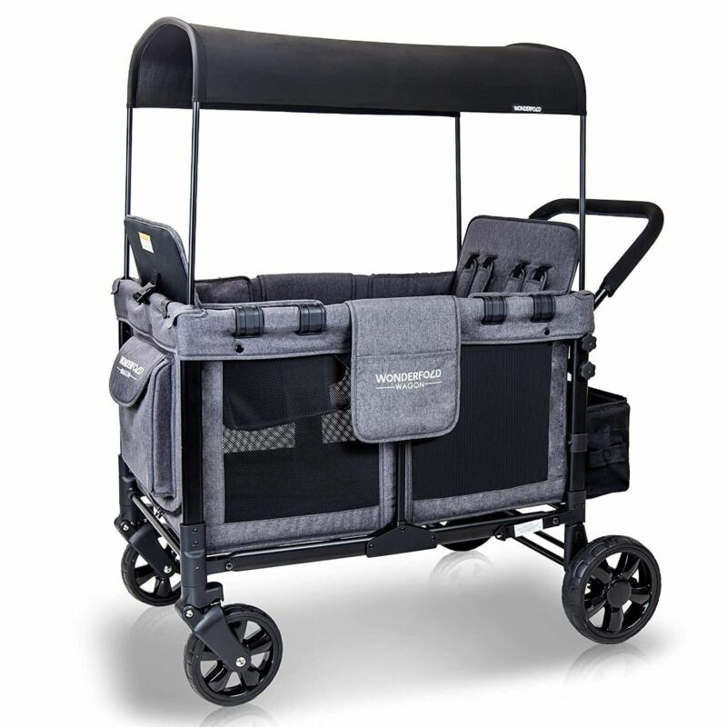 WONDERFOLD W4 4 Seater Multi-Function Quad Stroller Wagon with Removable Raised