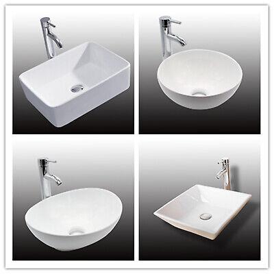 Bathroom Vessel Sink Basin - Ceramic Vessel Sink Bathroom White Bowl Basin Faucet & Pop Up Chrome Drain Combo