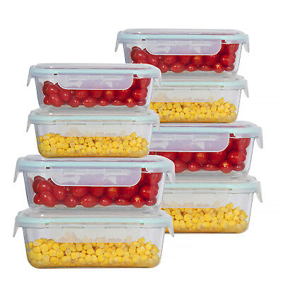 Rectangle & Square Glass Meal Prep Storage Containers Set Snap Locking Lid