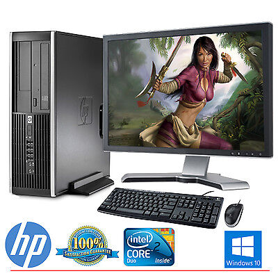 Hp Desktop Computer Pc Core 2 Duo Windows 10 4Gb 160Gb Hd 19  Lcd Monitor Wifi