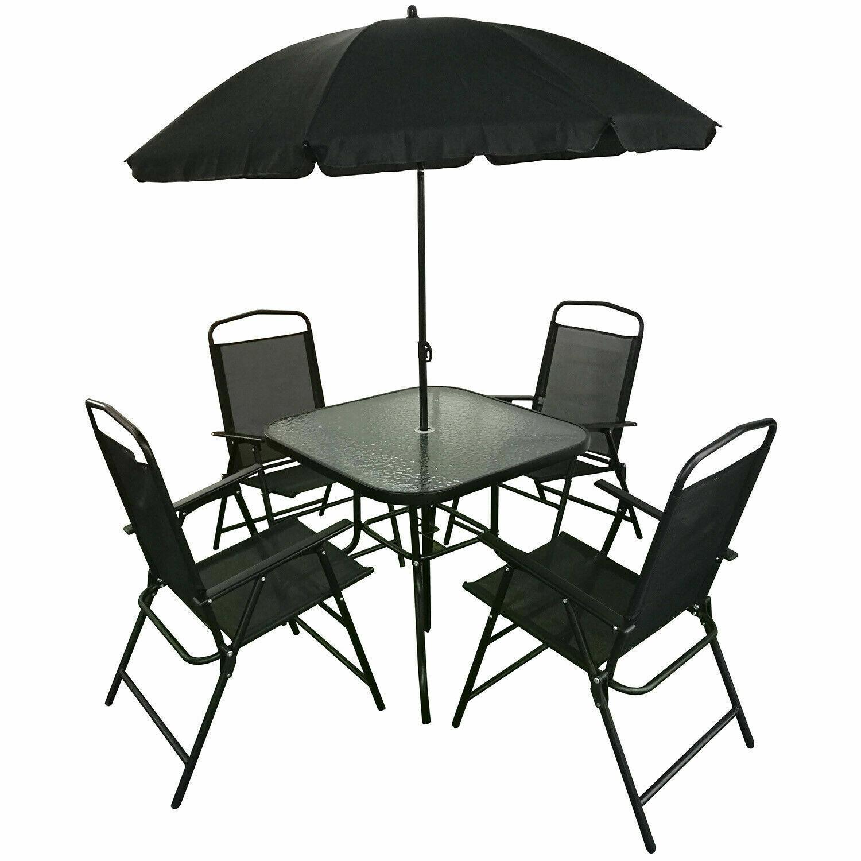 Garden Furniture - Garden Patio Dining Furniture Outdoor Patio Set 4 Chairs & Table Parasol Metal
