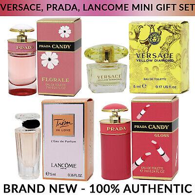 Versace, Prada, Lancome 4pc Fragrance Miniature Splash Bottle Set for Women NIB