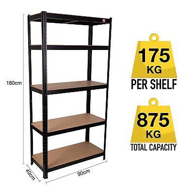Metal Shelving Industrial Boltless Racking Garage Heavy Duty Shelf Bay 5 Tier